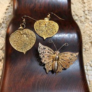 Jewelry - Gold Leaf Earrings & Butterfly Brooch